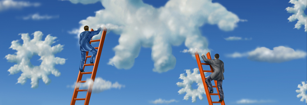 Men climbing ladders into the clouds.